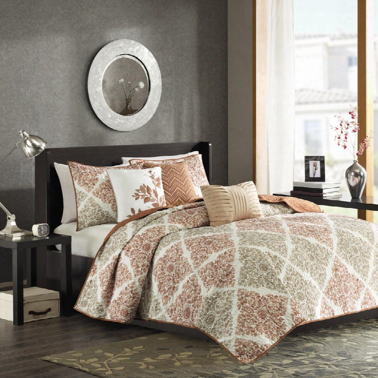 Madison Park Laire 6 Piece Quilted Coverlet Set In Multi