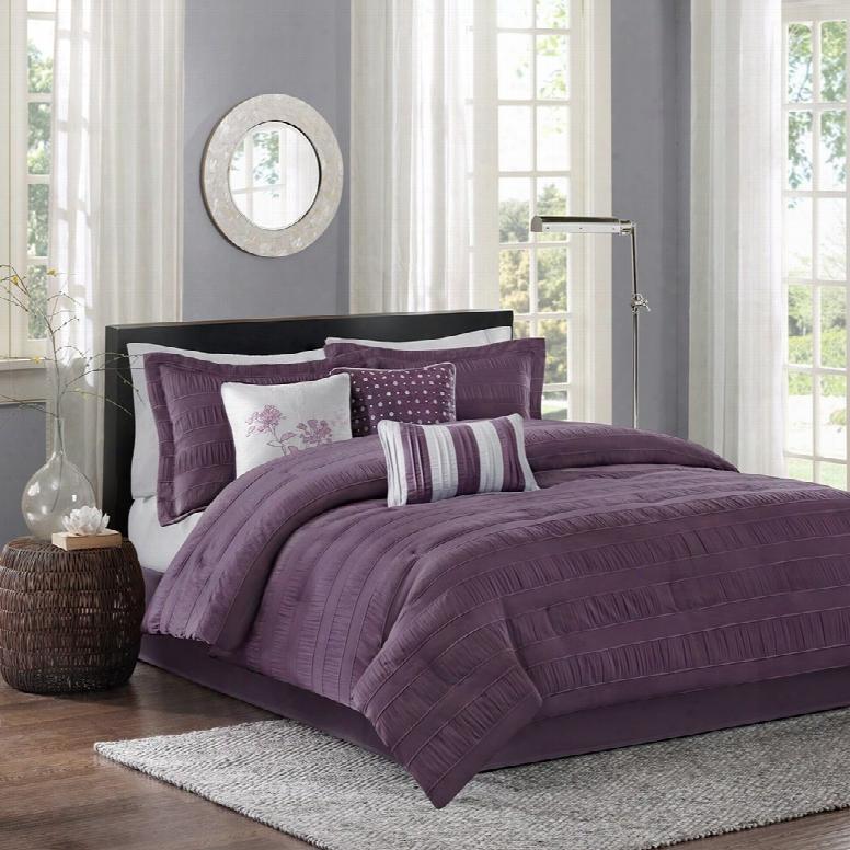 Madison Park Hampton 7 Unite Comforter Set In Plum