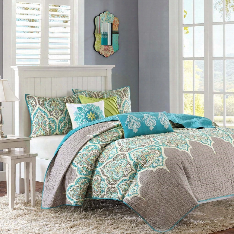 Madison Park Nisha 6 Piece Quilted Coverlet Set In Teal