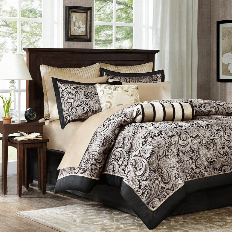 Madison Park Aubrey 12 Piece Black Polyester Complete Bed Set