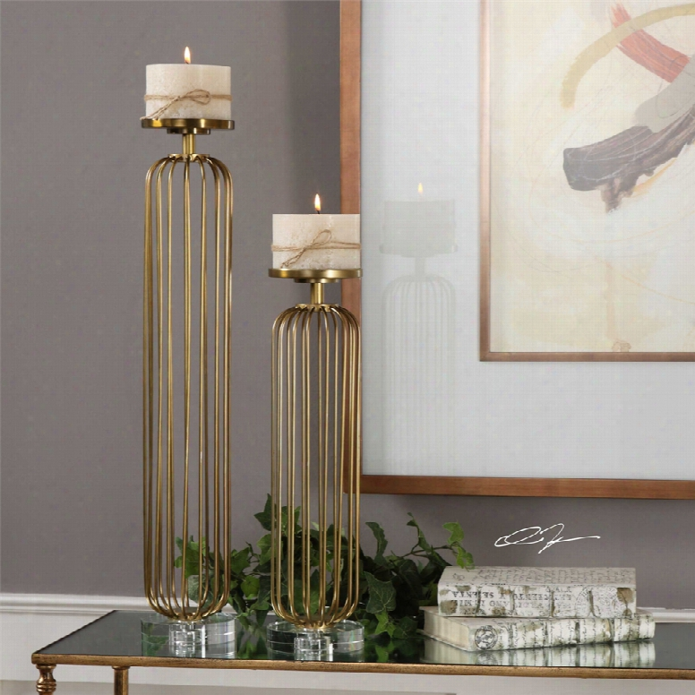 Uttermost Cesinali Candleholders Set Of 2 In Antique Gold