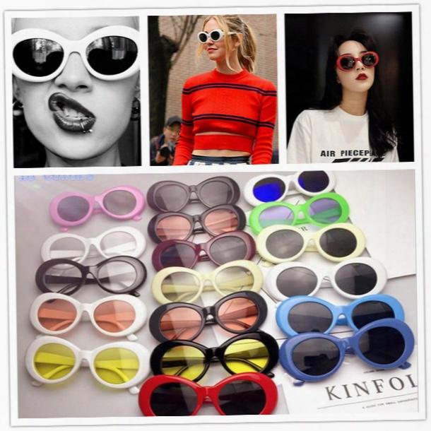 120pcs 19colors Nirvana Kurt Cobain Sunglasses Retro Vintage Oval Sun Glasses Men Women Punk Rock Shades Round Eyewear Yya528