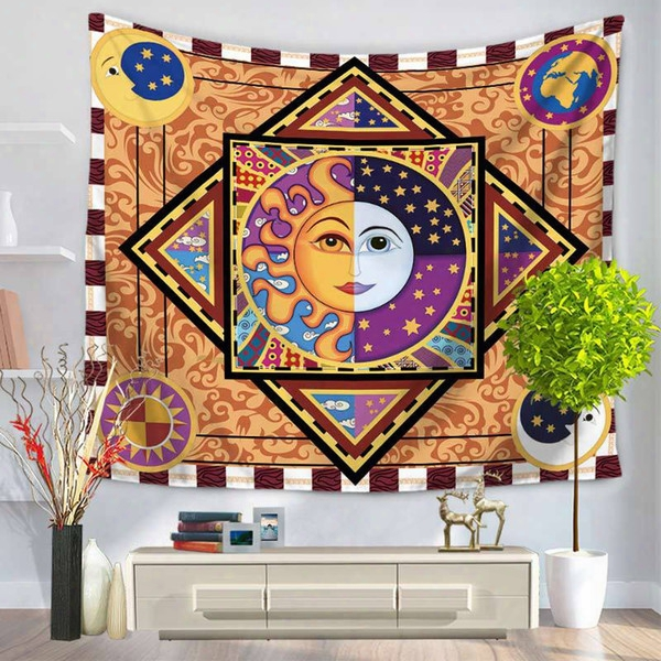 150*130cm Colorful Tapestry Psychedelic Celestial Indian Sun Tapestry Wall Hanging Throw Bohemian Door Curtain Yoga Mat Picnic Beach Blanket
