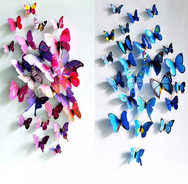 2016 Butterfly Decoration Stereo Simulation 3d Wall Stickers Curtain Fridge Sticks 12pcs/lot For Living Room And Wedding Room