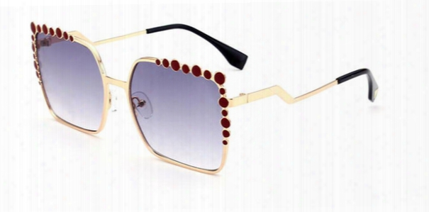 2018 Luxury Brand Round Dot Curved Legs Alloy Sunglasses Women Brand Shades Designer Square Frame Female Sun Glasses Oculos