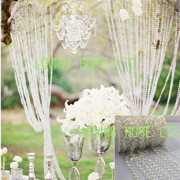 30ft/10yards Iridescent Garland Diamond Strand Wedding Tree Centerpiece Hanging Acrylic Crystal Bead Curtain Chains Christmas Decor