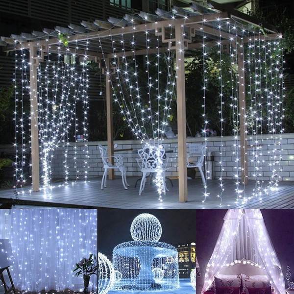 3*3m Led Window Curtain Icicle Lights 306 Led 9.8ft 8 Modes String Fairy Instruction String Light For Christmas/halloween/wedding