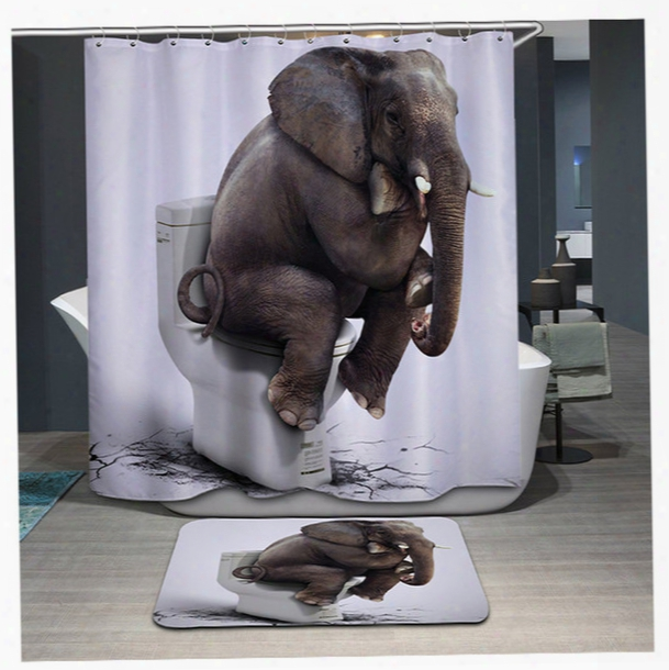 3d Printing Elephant Tiger Shower Curtain Waterproof Lion Bathroom Bath Curtains Polyester Cortina Ducha With Hooks Curtains Yb106