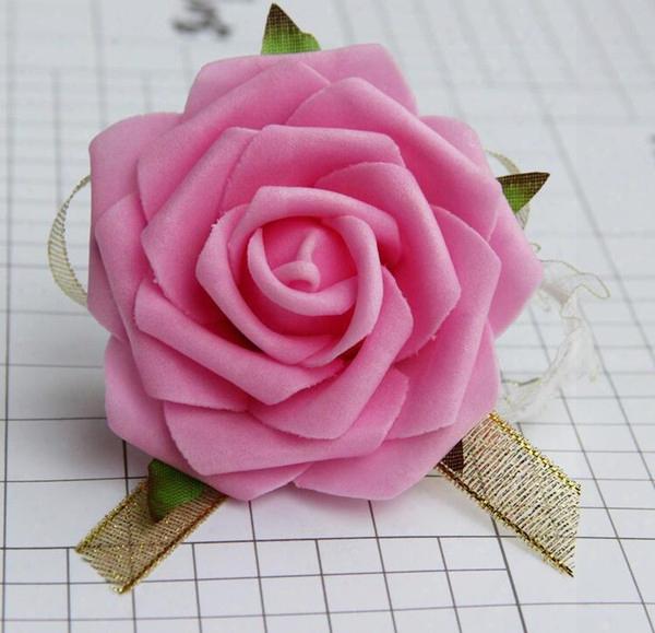 8cm Wrist Flower Ose Silk Ribbon Bride Corsage Hand Decorative Wristband Bracelet Bridesmaid Curtain Band Clip Bouquet G1130