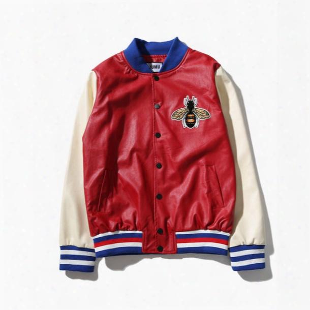 Blind For Love Embroidery Leather Bomber Jaccket Men Women 2017 Autumn Streetwear Color Block Men's Jackets Baseball Jacket 6501pg