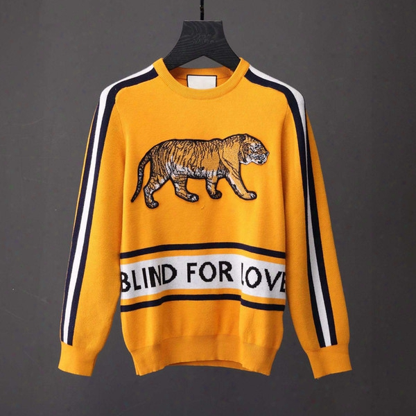 Blind For Love Men Sweater Cotton Crewneck Sweater Soft Rib-knit Long Sleeve Yellow Colors Top New Arrivals Clothing