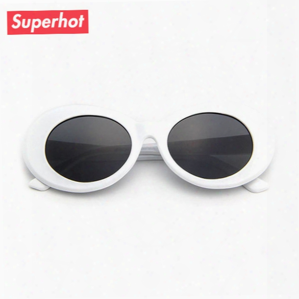 Clout Goggles Retro Vintage White Oval Sunglasses Men Women Sun Glasses Nirvana Kurt Cobain Shades Uv400 D0197