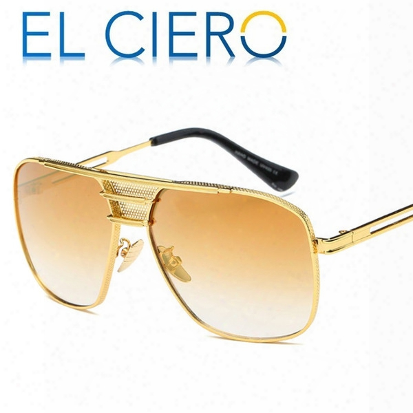 El Ciero High Quality Metal Brushed Sunglasses For Men & Women 2017 Brand Classic Square Sun Glasses Unisex Fashion Shades Uv400 Protection