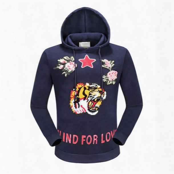 Europe Autumn Fashion Blind For Love Tiger Men Women Hoody Sweatshirts Embroiderry Flwoer Stars Lover Pullover Hoodie
