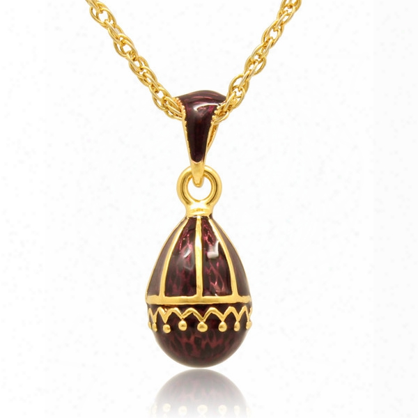 Hand Craft Enamel Elegant Falling Curtain Pendant Multiple Crystal Paved Charm Necklace Faberge Egg Pendant For Easter Day