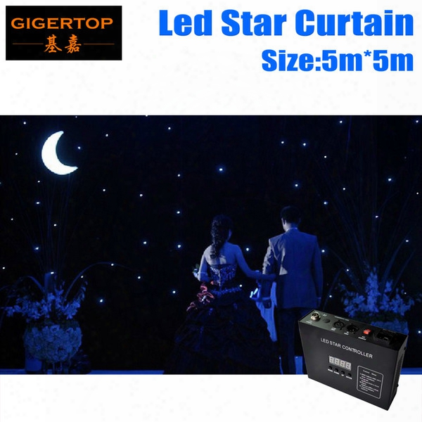 High Quality 5m*5m Led Star Curtain Blue+white Led Star Backdrops For Dj Stage Wedding Backdrops Led Star Lighting Size Customized