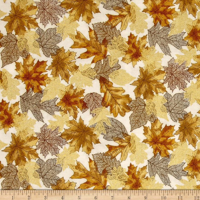 Kaufma N Shades Of The Season Metallic Scatter Brown Fabric