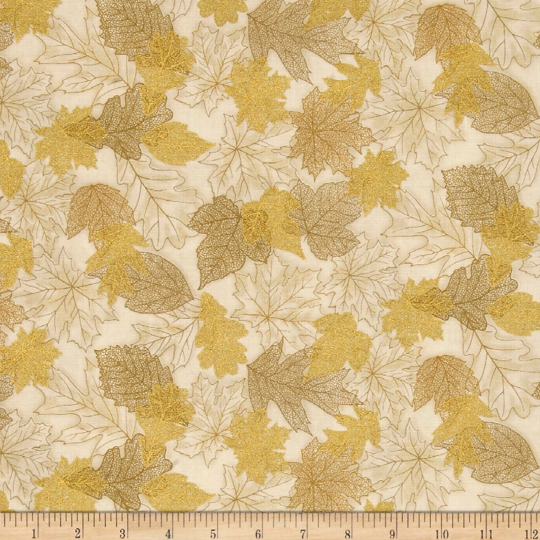 Kaufman Shades Of The Season Metallic Scatter Ivory Fabric
