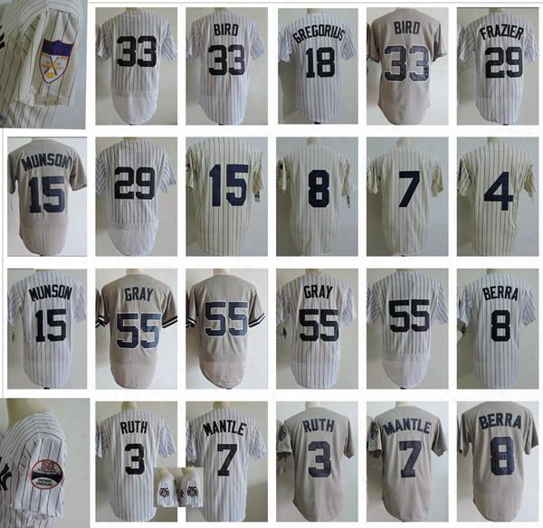 Mens 7 Mickey Manttle Throwback Baseball Jersey 3 Babe Ruth 29 Todd Frazier 55 Sonny Gray 33 Greg Bird 15 Thurman Munson 8 Yogi Berra Jerseys
