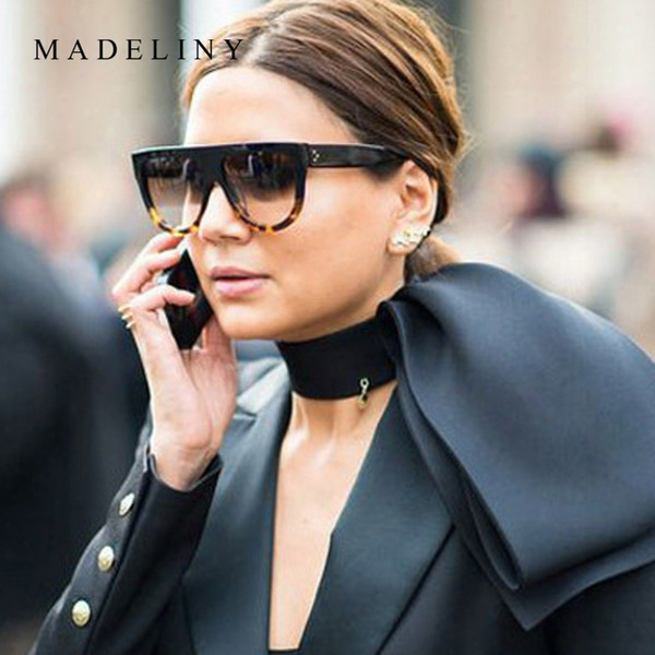 New Hot Sale Sunglasses Women Flat Top Oversize Shield Shape Glasses Brand Design Vintage Sun Glasses Uv400 Female Rivet Shades Ma101