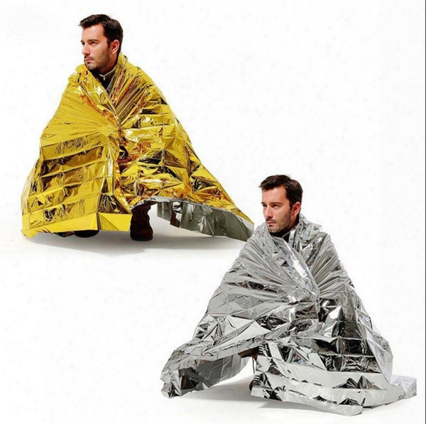 Outdoor Water Proof Emergency Survival Rescue Blanket Foil Thermal Space First Aid Sliver Rescue Curtain Military Blanket Ooa2168