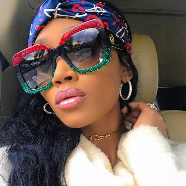 Oversized Big Square Sunglasses Women 2018 Newest Luxury Brand Designer Red Green Black Sun Glasses Logo Female Vintage Shades