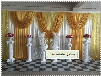 Free shipping/ice silk wedding backdrop\Ivory back curtains with gold drapes and gold sequin swags for Birthday Evening /10ft* 20ft