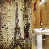 Wholesale- Paris Eiffel Tower Waterproof Polyester Bath Shower Curtain Retro Vintage Brown Butterfly Design Pattern with 12 Plastic Buckles