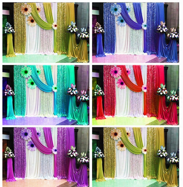 Purple Paillette Wedding Party Backdrop Curtain Swag Drape Wedding Party Decoration 10ft*20ft Birthday Anniversay Decor Photo Curtains Red