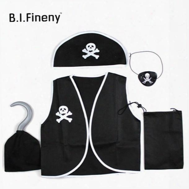 Q228 Children Kids Classic Pirate Costume Halloween Cosplay Costumes Skull Eye Vest Hat Blinder Hook Boys Girl Adult Costume