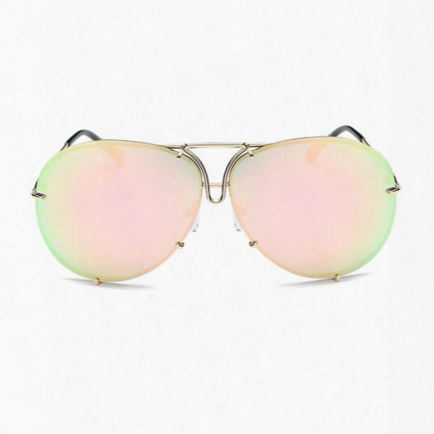 Rimless Gold Pink Men Women 2017 Brand Designer Aviator Clear Sunglasses Big Frame Sexy Sun Glasses Oversize Lunette Femme Shades Luxury