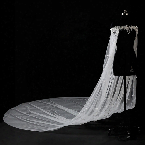 Romantic White Lace Cloaks Mantle Wedding Fashion Wedding Accessories With Sleeves 5 Meters Long Small Flowers Bridal Bolero