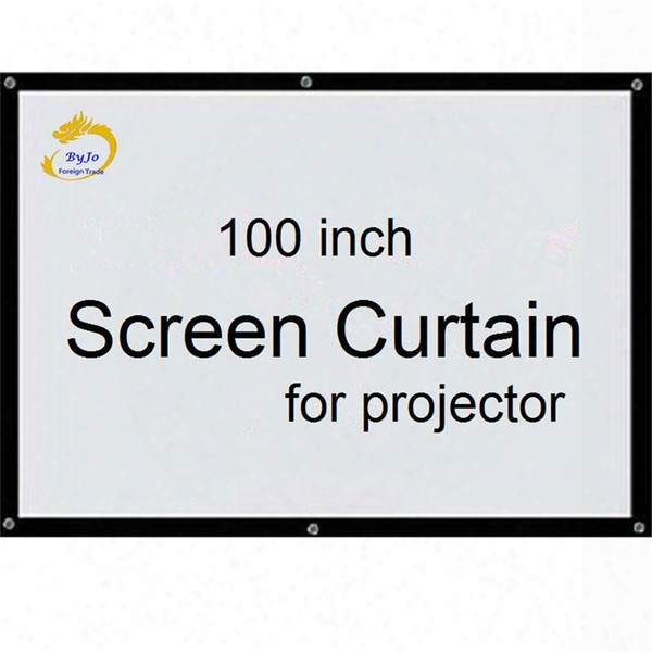 Screen Curtain100 Inch 16:9 Or 4:3 Projector Hd Screen Front Projection Screen Fabric With Eyelets For Proyectr