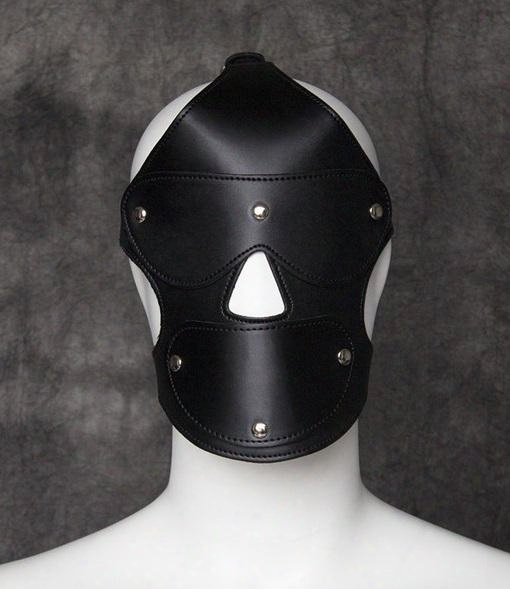 Sex Bondage Kinky Toys Head Harness Pu Leather Gimp Mask Hood With Removable Mouth Ball Gag And Blindfold