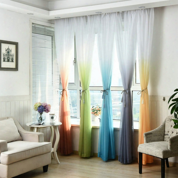 Sheer Tulle Window Curtain For Living Room Kitchen Modern Pattern Voil With Bright Color For Window Decoration Minimalist Style