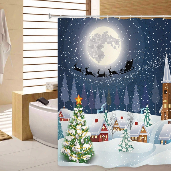 Shower Curtain Christmas Snowtree 3d Printing Shower Curtain With 12 Plastic Hooks Polyester Waterproof Mildew Resistant Fabric 180 X 180cm