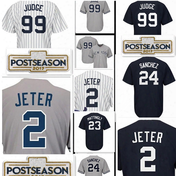 Stitched 99â aaronâ judge 2 Derek Jeter Jersey Cheap 23 Don Mattingly 24 Gary Sanchez 7 Mickey Mantle Baseball Jerseys Wholesale