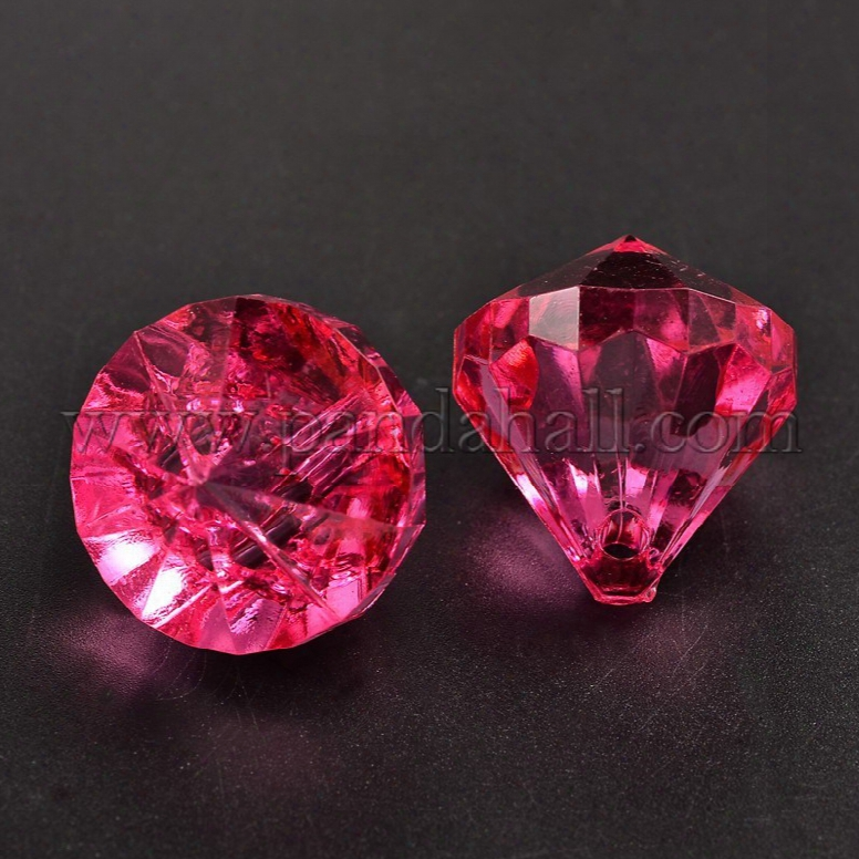Transparent Acrylic Pendants For Curtains, Drop, Deep Pink, About 28mm Wide, 31mm Long, Hole: 3mm; About 52pcs/500g