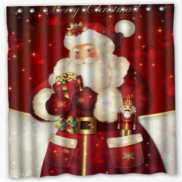 Wholesale- 3d Merry Christmas Fabric Waterproof Bathroom Shower Curtain U61102