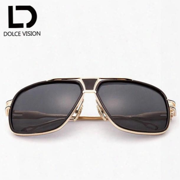 Wholesale-dolce Vision Rectangle Aviator Sunglasses Men Luxury Brand Designer Sun Glasses For Men Pilot Dirving 2017 Lunette Shades Male