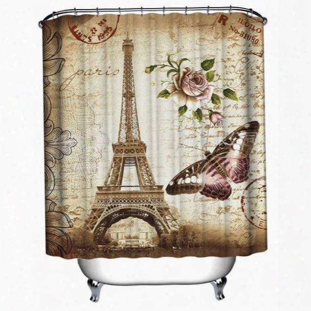 Wholesale- Eiffel Tower & Butterfly & Flower & Postmark Shower Curtain Bathroom Waterprpof Mildewproof Polyester Fabric 12 Hooks 71 Inch