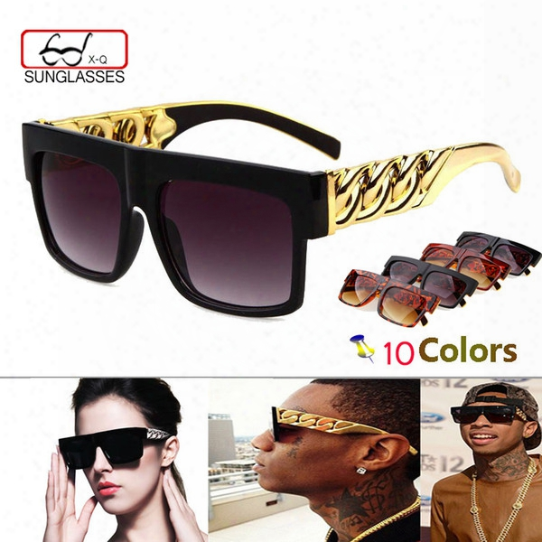 Wholesale- Fashion Medusa Mens Retro Sunglasses Vintage Women Brand Designer Plastic Gold Chain Oversized Shades Sunglass Oculos Zonnebril