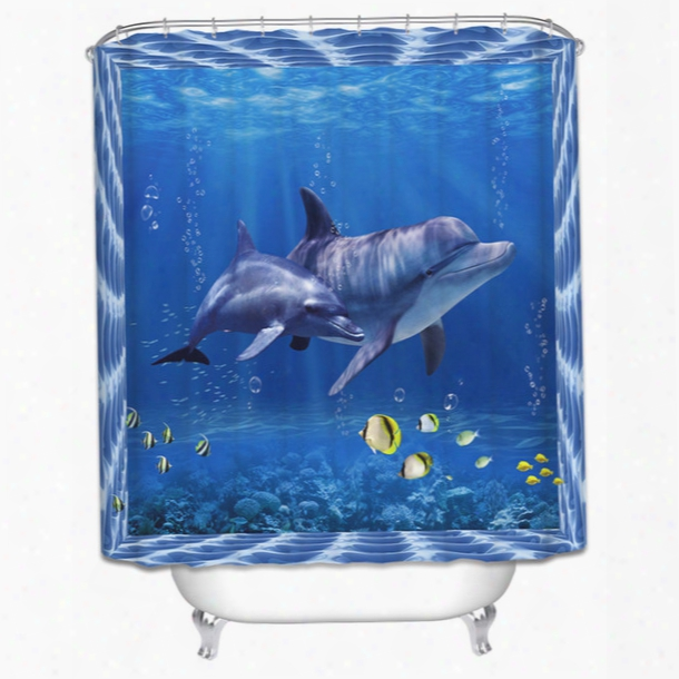 Wholesale- High Quality 3d Dolphin Seascape Bathroom Curtains Digital Printed Shower Curtain Polyester Mildew Waterproof Blue Decor