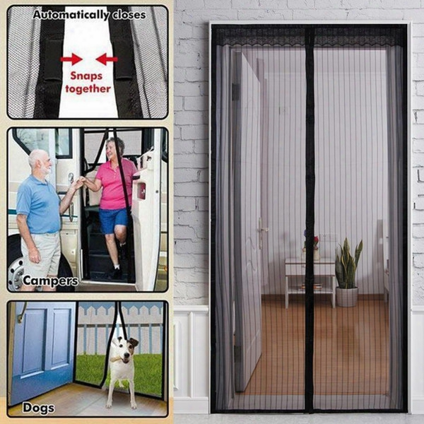 Wholesale-hot Summer Mosquito Net Curtain Magnets Door Mesh Insect Fly Bug Mosquito Door Curtain Net Netting Mesh Screen Magnets Wn118