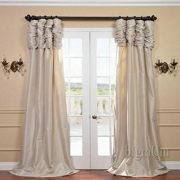 Wholesale ! Luxury Valance And Curtain Panel Solid Beihe/coffee/green/burgundy/silvery Window Treatment Ready Made Custom-made Curtains