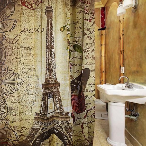 Wholesale- Paris Eiffel Tower Waterproof Polyester Bath Shower Curtain Retro Vintage Brown Butterfly Design Pattern Through  12 Plastic Buckles