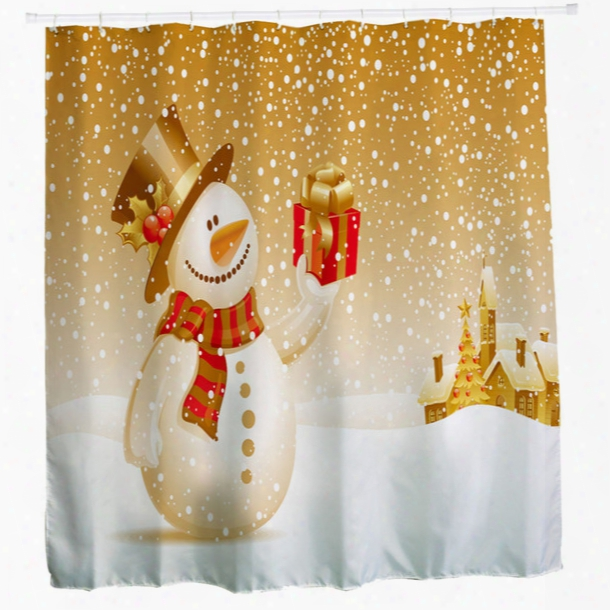Wholesale- Sale New Year Christmas Curtains Shower Curtain Bathroom Waterproof Polyester Fabric 3d 12 Rings Hooks Custom Rideau De Douche