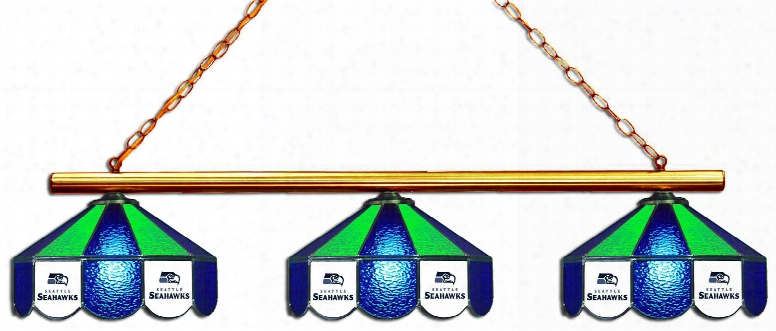 "18-1124 Seattle Seahawks Nfl 3 Shade 54"" Glass Lamp With 6 Printed Team Logo Panels Per Shade In Antique Brass With Shades In Team"