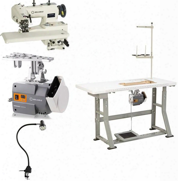 """7100sb Blindstitch With Skip Stitch Sewing Machine With 2500 Rpm 6000sm Servomotor Uberlight 9000c Smd-led Light And Plywood Tabletop With 3/32"""" Steel"""