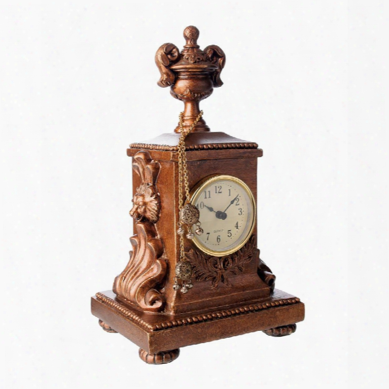"""Barcelona Collection 91-1548 10"""" Mantle Display Clock With Ornate Details Carved Lion's Head Filigree Dangling Ball Chain Tassel And Composite Materials In"""